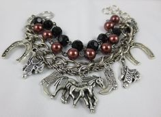 Perfect Gift! Horse and Rider Equestrian Beaded Charm by Unfeather by Robyn