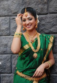 beautiful in a green saree