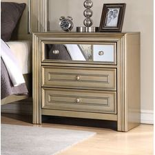 Champagne 3 Drawer Nightstand
