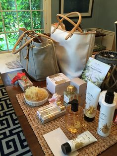 Display: Straw work place mats (from Neekah's straw work on Harbour Island), to showcase beauty products, sponge with Rose Body Wash to show softness of sponge when wet. the awesome dynamic duo, the Duchess of Windsor and the Mayfair.