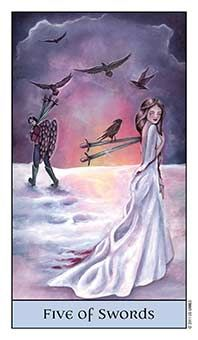 August 17 Tarot Card: Five of Swords (Crystal Visions deck) Conflicting, hostile energies are surging, and could get the best of you today. Winning isn't really winning if you hurt loved ones and lose integrity in the process ~ pick your battles now