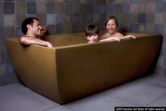 The feel of cast stone on your skin is something that can't be described, but we offer optional, embedded heating coils, because people just don't want to get out. The contoured bottom makes this tub even comfortable without water. Roomy enough for two. All products made in America from sustainable EarthCrete™ Concrete. Stronger, lighter, in a great variety of colors and finishes, EarthCrete™ is the best concrete on earth. See tub fillers designed for these freestanding tubs at… Concrete Bath, Cast Stone, Bath Tub, Made In America, Getting Out, Tubs, Your Skin, Lighter, Storage Chest