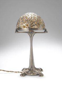 Maurice Dufrène (French 1876-1955) Table Lamp,  Silvered Bronze, 1900.