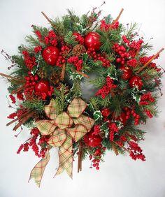 Country Style Apples & Cinnamon Christmas Wreath by Ed The Wreath Guy