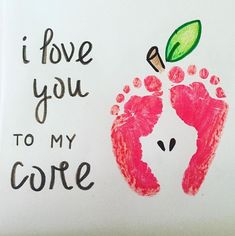 Daycare crafts - Kid Footprint Apple Art Pun, I Love You To My Core Kelly Courtney ( Mothers Day Crafts For Kids, Valentine Crafts For Kids, Fathers Day Crafts, Baby Crafts, Infant Crafts, Valentines, Grandparents Day Crafts, Preschool Crafts, Kids Crafts