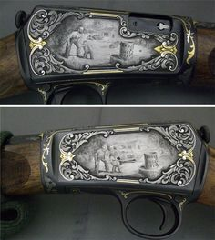 The Gun Art of Master Engraver Lee Griffiths | Field & Stream  Griffiths was given this 1903 Winchester and told to engrave it with a design of his choice. Because the rifle was an heirloom, he picked a scene of a father teaching his son to shoot on one side, and the son grown to adulthood teaching his son to shoot on the other. The man in the overalls is a self-portrait of Griffiths.