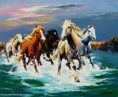 Horses and the sea <3. Oil painting and palette knife.