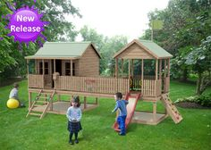 Magic Master Cubby House Australian-Made Wooden Playground Equipment DIY Kits Cubby House Plans, Kids Cubby Houses, Kids Cubbies, Play Houses, Kids Outdoor Spaces, Outdoor Ideas, Backyard Playground, Diy Kits, Kids Playing
