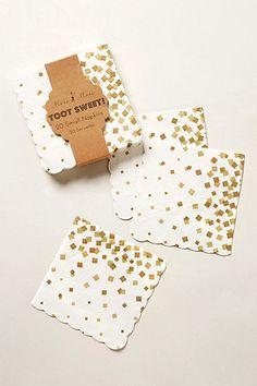 Instant party sparkle :: Gold Confetti Paper Napkins