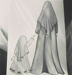 Sukur-u Language Salamet Human - - Sad Drawings, Girl Drawing Sketches, Cute Girl Drawing, Girly Drawings, Girl Sketch, Sketch Painting, Drawing Drawing, Hijab Drawing, Islamic Cartoon