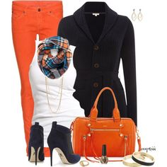 Contest: Orange and Navy, created by exxpress on Polyvore