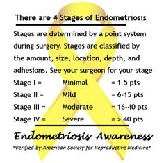 The 4 Stages of Endometriosis. #EndoAware www.facebook.com/EndoTwinCitiesPublic  *Verified by American Society for Reproductive Medicine*