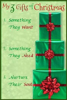 My Three Gifts of Christmas: I call them Gold, Frankincense, and Myrrh! Something they want, something they need, and something to nourish the soul. Makes it easier to buy when I have a goal!