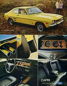 Items similar to 1972 Ford Sport Coupe Capri Car Ad Yellow Automobile Photo Vintage Advertising Print Garage Wall Art Decor on Etsy Ford Capri, Ford Sport, Mercury Capri, Ford Motor Company, Retro Cars, Vintage Cars, Opel Gt, Ford Classic Cars, Classic Cars British