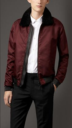 Burberry London Technical Blouson with Detachable Shearling Collar