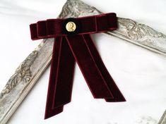 Wine red velvet bow tie brooch, deep red bowtie for women, burgundy red, ladies bow tie, everyday ac Velvet Bow Tie, Red Bow Tie, Velvet Ribbon, Red Velvet, Dance Accessories, Red Jewelry, Victorian Fashion, Grosgrain, Burgundy