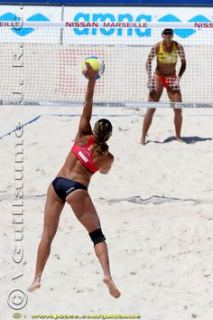 Serving it up, beach volleyball