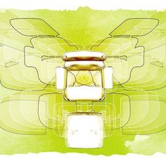 Sketch of the day: Playing with projected shadows of the iconic Eames lounge chair. #eames #eameschair #watercolour #furniture #sketchup #butterfly #picoftheday #pictureoftheday #sketchoftheday #green #shadow #shadows #shadowplay #iconic #chair #digitalart