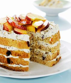 Panettone, ricotta and peach cake - Gourmet Traveller