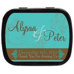 Elegance Personalized Wedding Mint Tins, great as #weddingfavors or use at tables to enhance your #weddingtheme #tealbrownwedding
