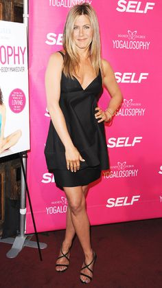 Aniston came out to celebrate the launch of a friend's book in West Hollywood wearing this sexy satin v-neck dress.