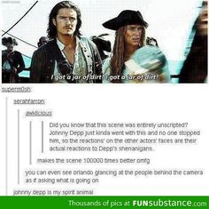 The fact that one of my favorite parts of the movie was improvised makes me love Johnny Depp all the more!