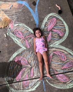 Big wings this one. . . . #Butterfly #SidewalkChalk #TheHarps #CampingLife #OutdoorKids
