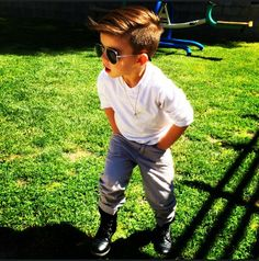 stylish little boy- boots, sunglasses