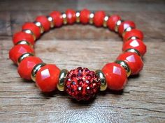 Pulseira cristais vermelho de strass | MabStore |