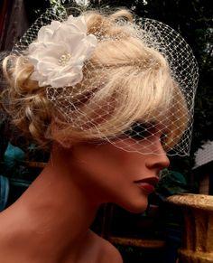 White or Ivory Bridal Fascinator pearls swarovski by kathyjohnson3, $59.00