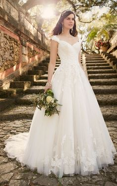 A-line Cap Sleeves Floor Length Chapel Train Vintage Lace Wedding Dress
