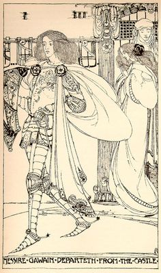 Messire Gawain Departeth from the Castle - The High History of the Holy Graal translated from the Old French by Sebastian Evans, illustration Jessie M. King Arthur Legend, Green Knight, Glasgow School Of Art, Chivalry, Pottery Painting, Surface Pattern Design, Jessie, Illustration, Celtic