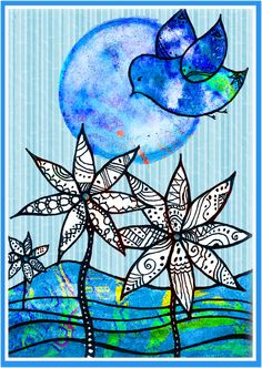 Paint, Ink, ZENTANGLES!!! Love the bright blue.