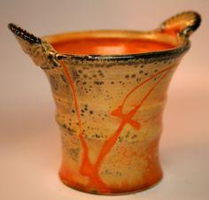 Malcolm Davis (1937-2011) classic shino porcelain studio pottery vase