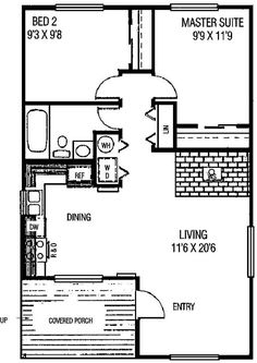 First Floor Plan of Cabin   House Plan 98711 Elevation of Cabin   House Plan 98711  Total Living Area: 770 Bedrooms: 2 Full Baths: 1
