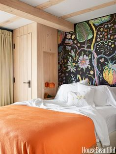 "Bold Bedroom: ""The smaller the room, the more drama you need,"" Netto says. ""The Svenskt Tenn Hawaii fabric by Josef Frank IDEA for nightstand as a closet for small guest room Beautiful Bedrooms, Beautiful Homes, House Beautiful, Happy Room, Bedroom Orange, Of Wallpaper, Fabric Wallpaper, Wallpaper Headboard, Feature Wallpaper"
