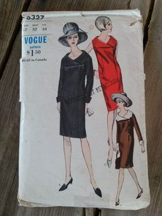 Vintage 1960s Pattern Dress Vogue 6327 B32 Step In Dress 2015540 - pinned by pin4etsy.com