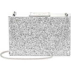 ASPINAL OF LONDON Box glitter clutch bag ($620) ❤ liked on Polyvore featuring bags, handbags, clutches, chain strap purse, clasp purse, embossed handbags, aspinal of london handbags and chain-strap handbags