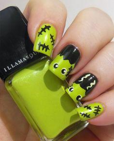 Green Frankenstein Nail Art nails halloween nail art halloween nails halloween n Nail Manicure, Diy Nails, Cute Nails, Pretty Nails, Nail Polish, Gel Nail, Acrylic Nails, Halloween Nail Designs, Halloween Nail Art