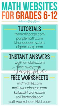 Sample Math Websites for Grades 6-12