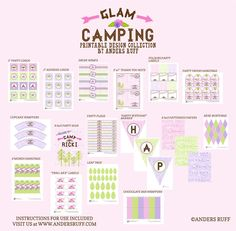 Glam Camping Girl Glamping Printables Collection $67
