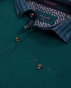 Checked collar polo shirt - Teal | Tops & T-shirts | Ted Baker UK