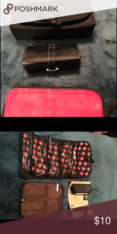Travel bags One Avon toiletry/makeup travel bag with 4 zippered compartments. One Pink Mark Makeup Brush travel case. One black jewelry travel bag with small detachable and various compartments. All just used once on my trip to France and England. Excellent condition. Avon Bags Travel Bags