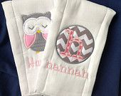 Set of 2 Personalized Burp Cloths - Diaper Cloths - Baby Girl - Monogrammed - Gift Set - Owl