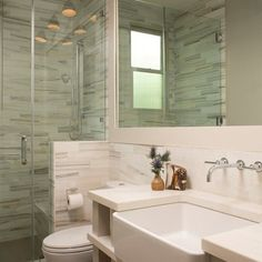 Exotic Stone Home Designed Modernly, Perfectly and Stunningly : Fabulous Townes Lane Residence Bathroom With Screened Shower Design And Frameless Wall Mirror With Glass Tile Babcksplash