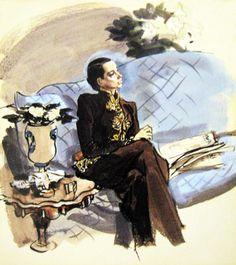 francis marshall illustration of elsa schiaparelli  via Julie Thomspon