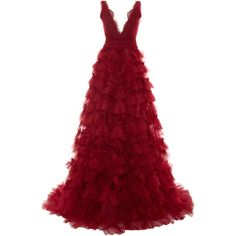 Marchesa Embroidered V-Neck Tulle Ball Gown (154.640 ARS) ❤ liked on Polyvore featuring dresses, gowns, long dresses, vestidos, red gown, red ball gown, red ruffle dress, red v neck dress and tulle ball gown