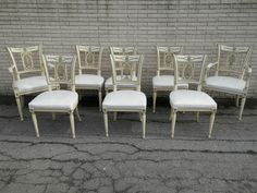 Vintage Hollywood Regency Empire 8 Hand Carved Chairs Side Dining Sahon New York   eBay