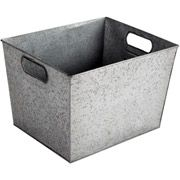 Better Homes and Gardens Large Galvanized bin. Good for storing bulbs and fertilizer.