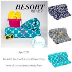 Shop this April & add a beautiful #Initials Inc. #beach towel for 1/2 price with every $35 purchased!